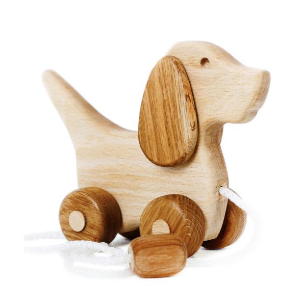 Деревянная игрушка каталка собачка на веревочке